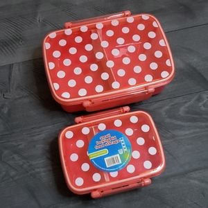 NWT pink plastic lunch bento boxes